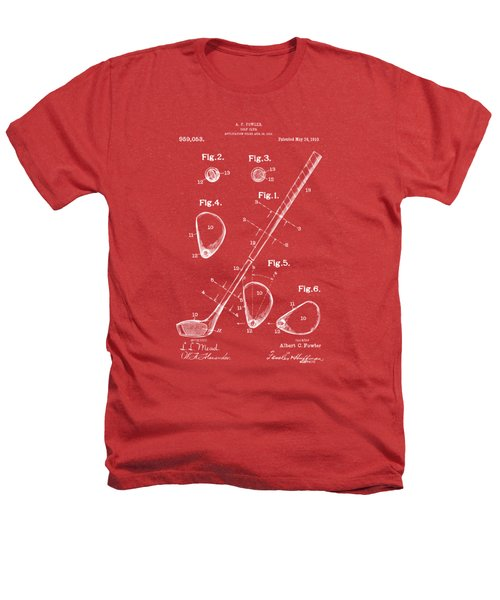 1910 Golf Club Patent Artwork Red Heathers T-Shirt by Nikki Marie Smith