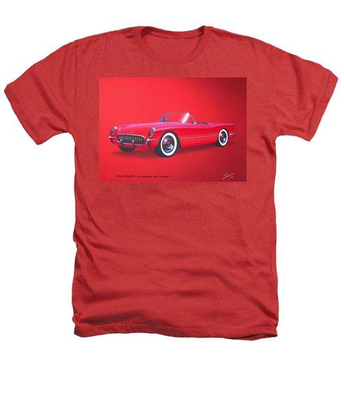 1953 Corvette Classic Vintage Sports Car Automotive Art Heathers T-Shirt by John Samsen