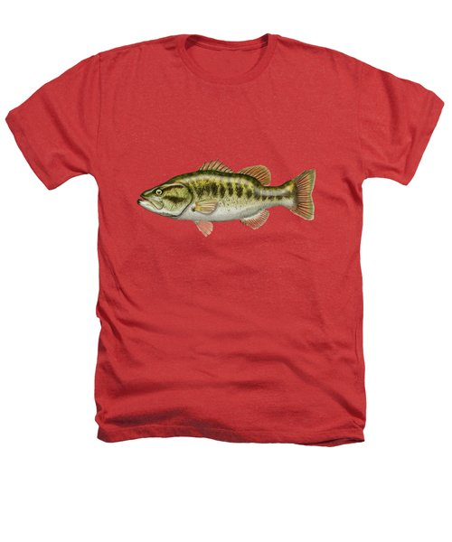 Largemouth Bass On Red Leather Heathers T-Shirt by Serge Averbukh