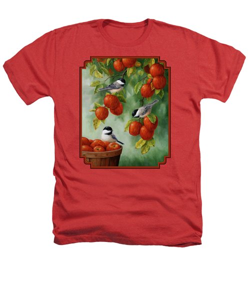 Bird Painting - Apple Harvest Chickadees Heathers T-Shirt
