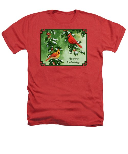 Cardinals Holiday Card - Version With Snow Heathers T-Shirt by Crista Forest