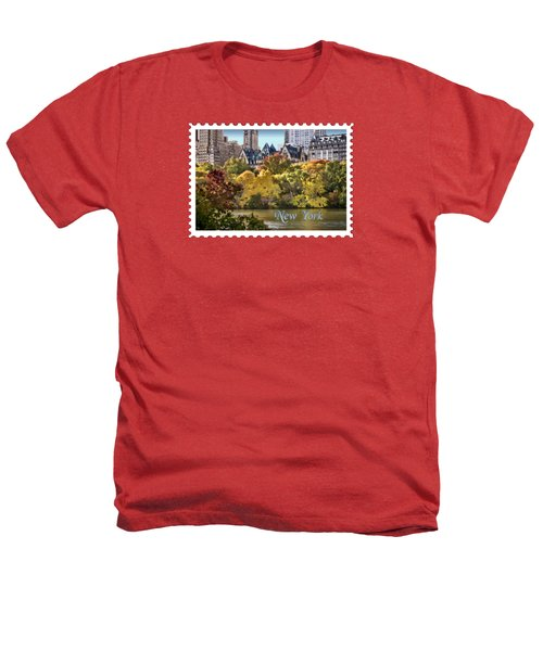 Central Park Lake In Fall Text New York Heathers T-Shirt by Elaine Plesser