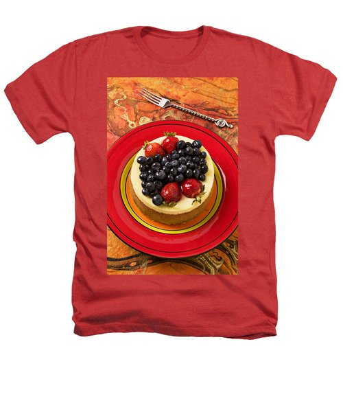 Cheesecake On Red Plate Heathers T-Shirt by Garry Gay