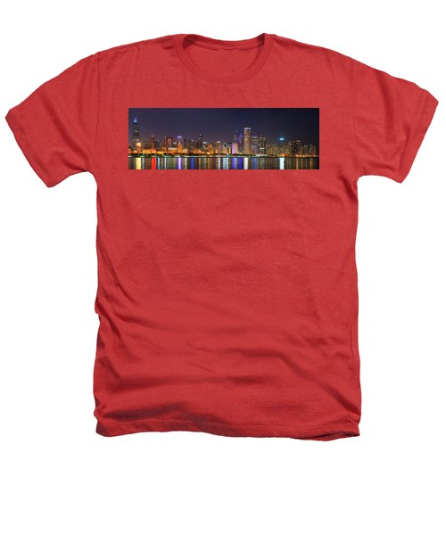 Chicago Skyline With Cubs World Series Lights Night, Chicago, Cook County, Illinois,  Heathers T-Shirt