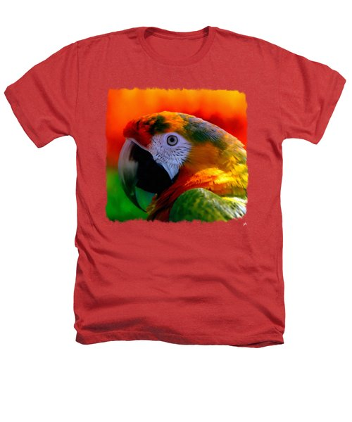 Colorful Macaw Parrot Heathers T-Shirt by Linda Koelbel