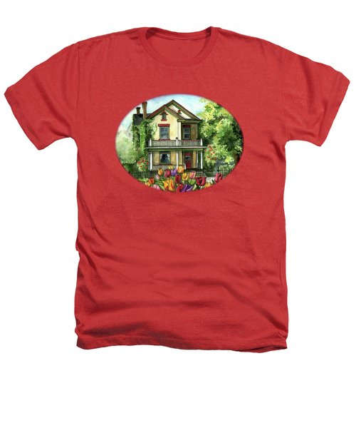Farmhouse With Spring Tulips Heathers T-Shirt