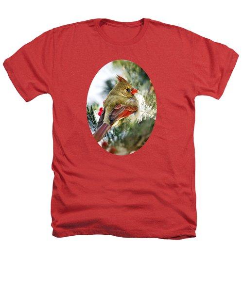 Female Northern Cardinal Heathers T-Shirt by Christina Rollo