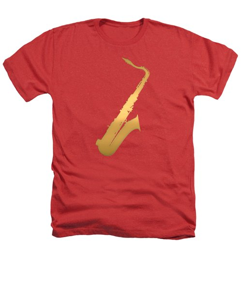 Gold Embossed Saxophone On Red Background Heathers T-Shirt