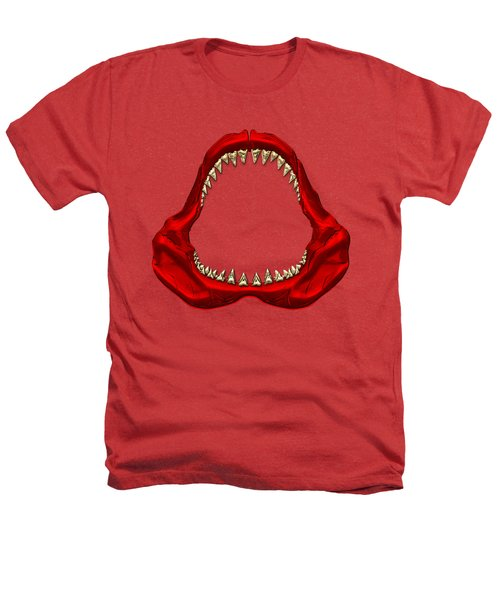 Great White Shark - Red Jaws With Gold Teeth On Red Canvas Heathers T-Shirt by Serge Averbukh