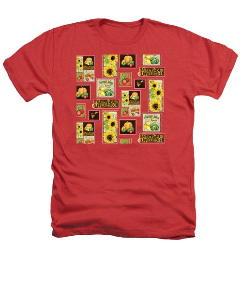 Harvest Market Pumpkins Sunflowers N Red Wagon Heathers T-Shirt by Audrey Jeanne Roberts