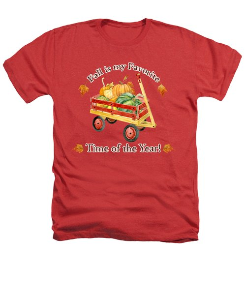 Harvest Red Wagon Pumpkins N Leaves Heathers T-Shirt by Audrey Jeanne Roberts