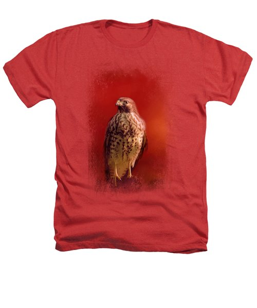 Hawk On A Hot Day Heathers T-Shirt by Jai Johnson