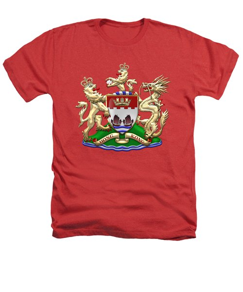 Hong Kong - 1959-1997 Coat Of Arms Over Red Leather  Heathers T-Shirt by Serge Averbukh