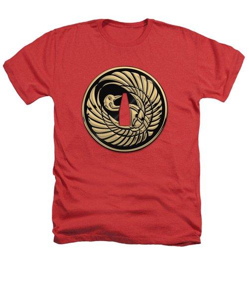 Japanese Katana Tsuba - Golden Crane On Black Steel Over Red Velvet Heathers T-Shirt