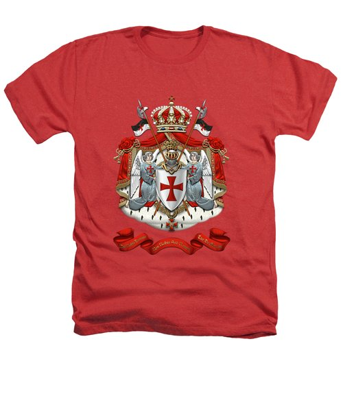 Knights Templar - Coat Of Arms Over Red Velvet Heathers T-Shirt by Serge Averbukh