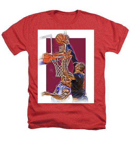 Lebron James Cleveland Cavaliers Oil Art Heathers T-Shirt by Joe Hamilton