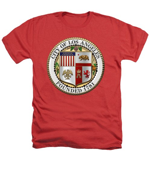 Los Angeles City Seal Over Red Velvet Heathers T-Shirt by Serge Averbukh