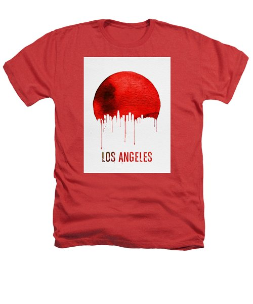 Los Angeles Skyline Red Heathers T-Shirt by Naxart Studio