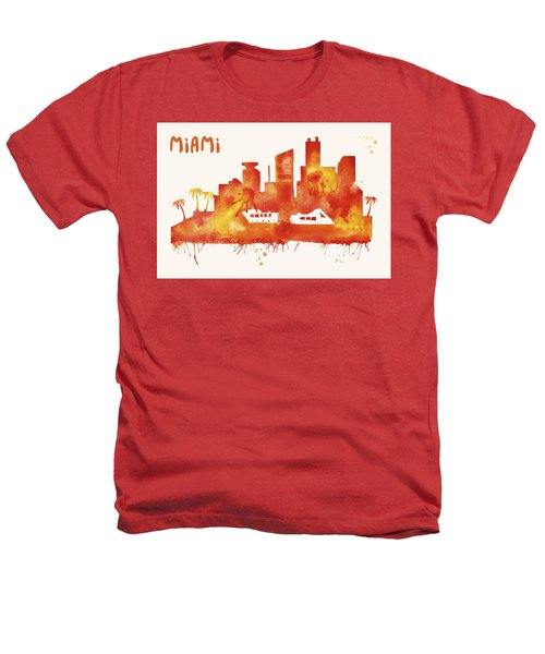 Miami Skyline Watercolor Poster - Cityscape Painting Artwork Heathers T-Shirt by Beautify My Walls