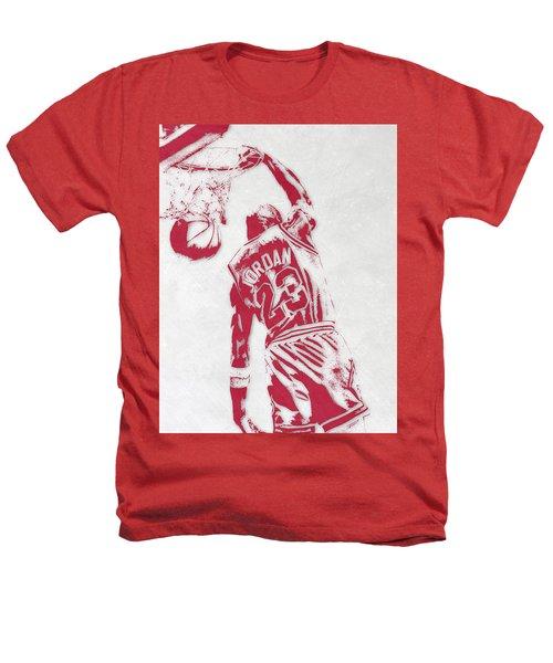 Michael Jordan Chicago Bulls Pixel Art 1 Heathers T-Shirt by Joe Hamilton