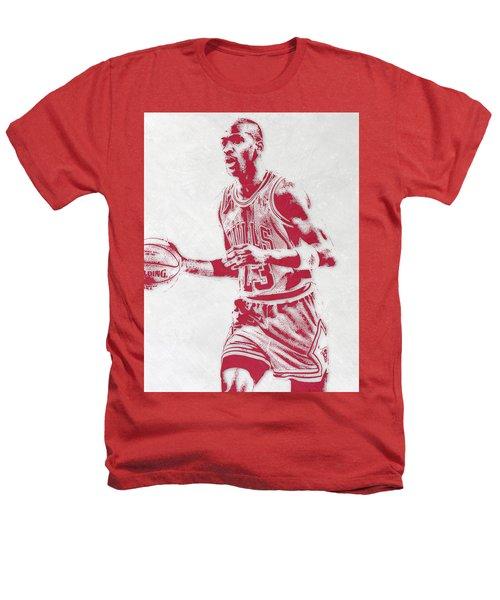 Michael Jordan Chicago Bulls Pixel Art 2 Heathers T-Shirt by Joe Hamilton