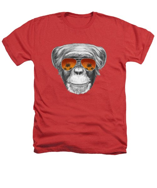 Monkey With Mirror Sunglasses Heathers T-Shirt by Marco Sousa