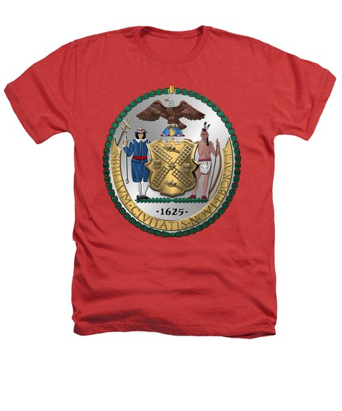 New York City Coat Of Arms - City Of New York Seal Over Red Velvet Heathers T-Shirt by Serge Averbukh