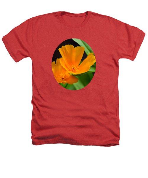 Orange California Poppies Heathers T-Shirt by Christina Rollo