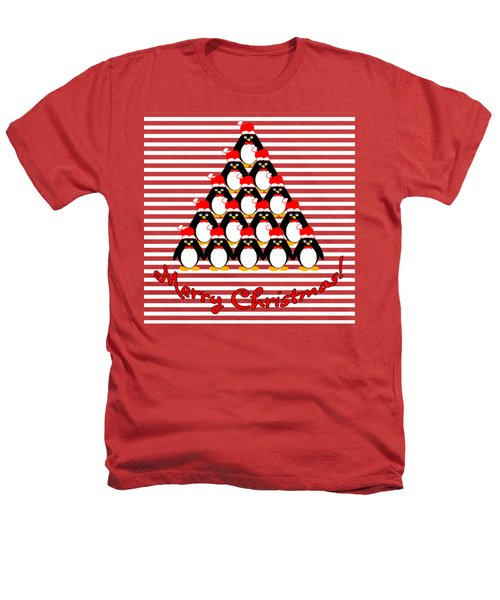 Penguin Christmas Tree N Stripes Heathers T-Shirt by Methune Hively