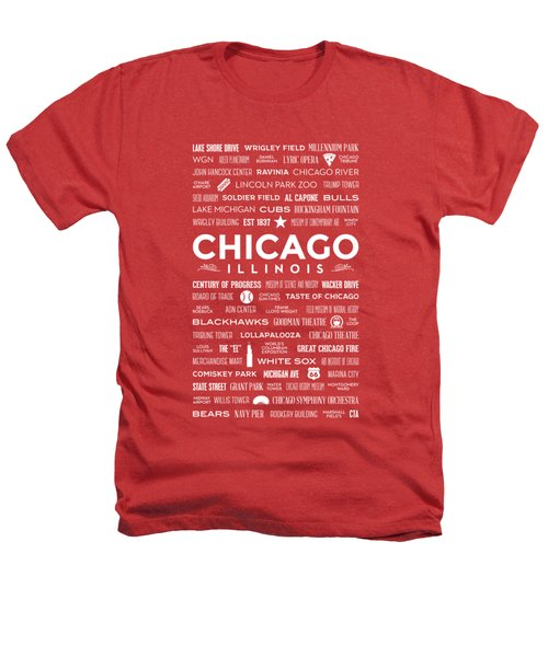 Places Of Chicago On Red Chalkboard Heathers T-Shirt by Christopher Arndt