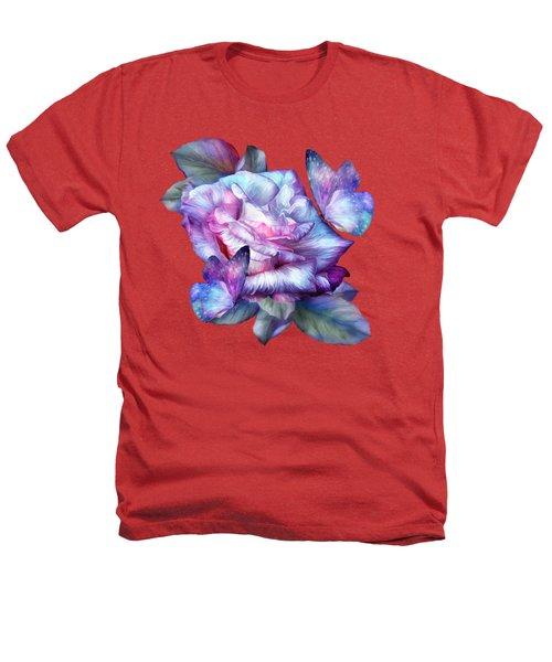 Purple Rose And Butterflies Heathers T-Shirt by Carol Cavalaris