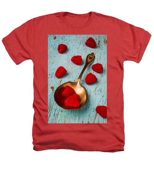Raspberries With Antique Spoon Heathers T-Shirt by Garry Gay