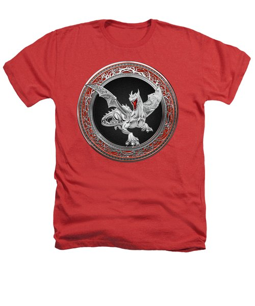 Silver Guardian Dragon Over Red Velvet  Heathers T-Shirt by Serge Averbukh
