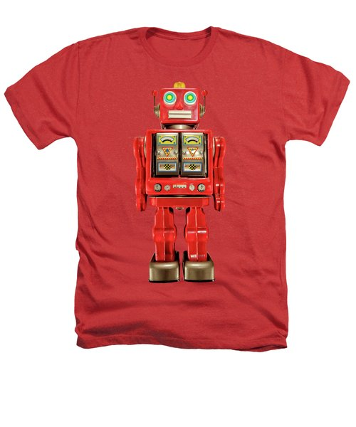 Star Strider Robot Red On Black Heathers T-Shirt by YoPedro