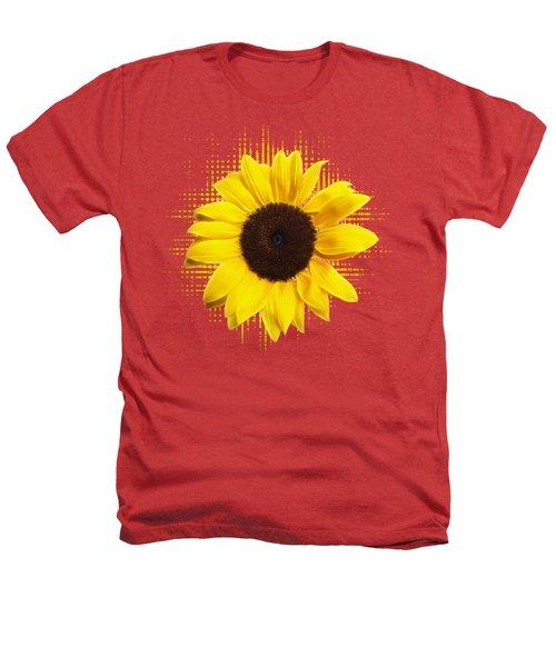 Sunflower Sunburst Heathers T-Shirt by Gill Billington