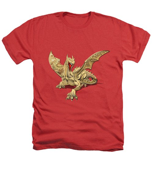 The Great Dragon Spirits - Golden Guardian Dragon On Red And Black Canvas Heathers T-Shirt by Serge Averbukh