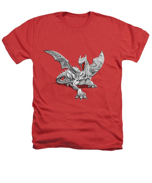 The Great Dragon Spirits - Silver Guardian Dragon On Black And Red Canvas Heathers T-Shirt by Serge Averbukh