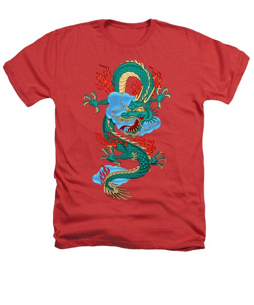 The Great Dragon Spirits - Turquoise Dragon On Red Silk Heathers T-Shirt by Serge Averbukh