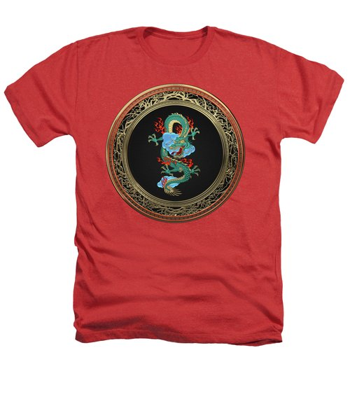 Treasure Trove - Turquoise Dragon Over Red Velvet Heathers T-Shirt by Serge Averbukh