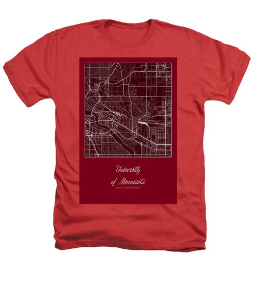 U Of M Street Map - University Of Minnesota Minneapolis Map Heathers T-Shirt by Jurq Studio