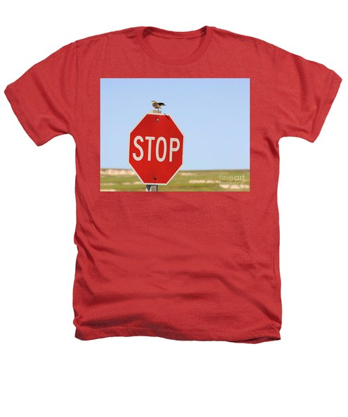 Western Meadowlark Singing On Top Of A Stop Sign Heathers T-Shirt by Louise Heusinkveld