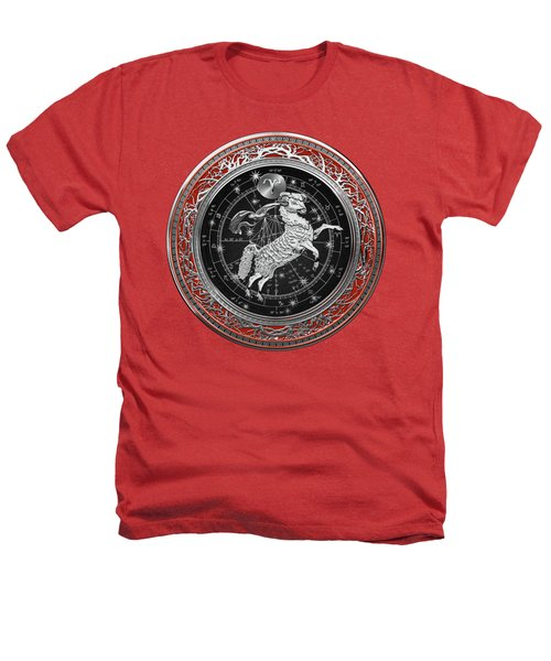 Western Zodiac - Silver Aries -the Ram On Red Velvet Heathers T-Shirt