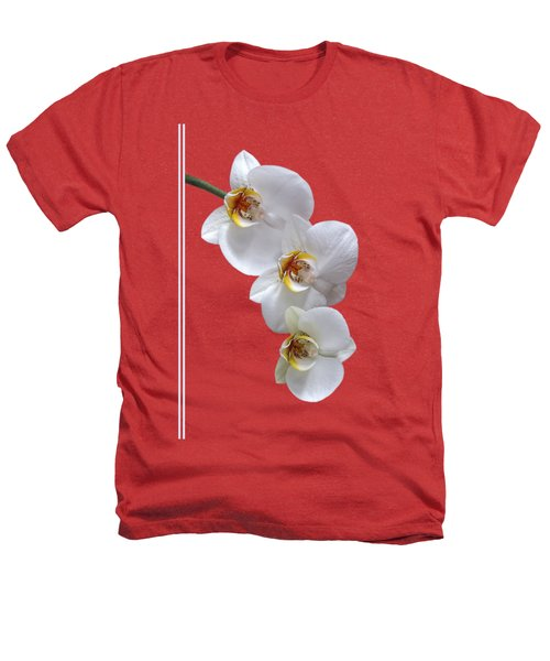 White Orchids On Terracotta Vdertical Heathers T-Shirt by Gill Billington