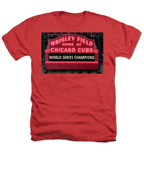 Wrigley Field Marquee Cubs World Series Champs 2016 Front Heathers T-Shirt by Steve Gadomski