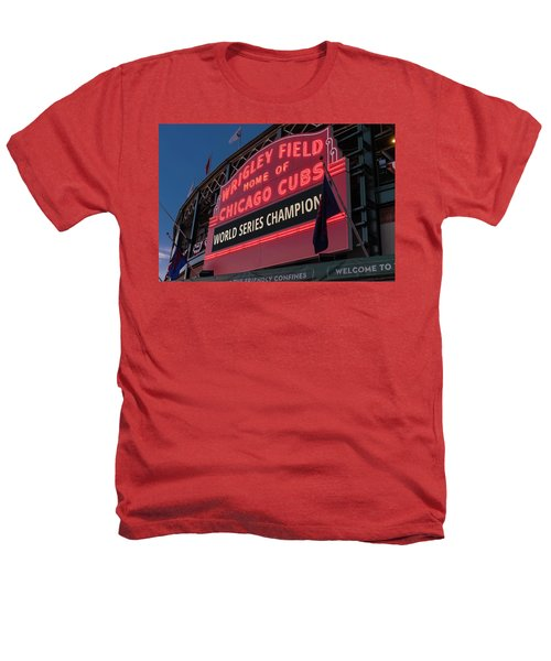 Wrigley Field World Series Marquee Heathers T-Shirt by Steve Gadomski