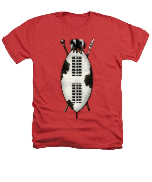 Zulu War Shield With Spear And Club On Red Velvet  Heathers T-Shirt