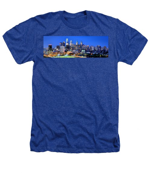 Philadelphia Skyline At Night Evening Panorama Heathers T-Shirt by Jon Holiday