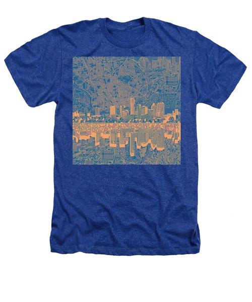Austin Texas Skyline 2 Heathers T-Shirt by Bekim Art