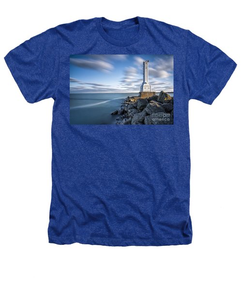 Huron Harbor Lighthouse Heathers T-Shirt by James Dean