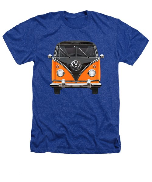 Volkswagen Type 2 - Black And Orange Volkswagen T 1 Samba Bus Over Blue Heathers T-Shirt by Serge Averbukh